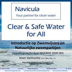 Titelpagina bij de cursus Zwemvijvers en Biozwembaden horende bij het opleidingsonderdeel Ecologische Tuin- en Landschapsinrichting.