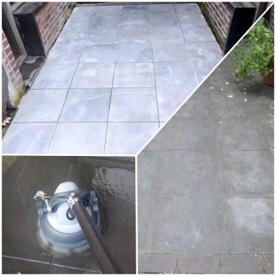 Natuursteenborstel: Deep Clean Reiniging van een blauwe hardsteen terras met de Stone & Tile natuursteenborstel op de JET 3 vloerreiniger.